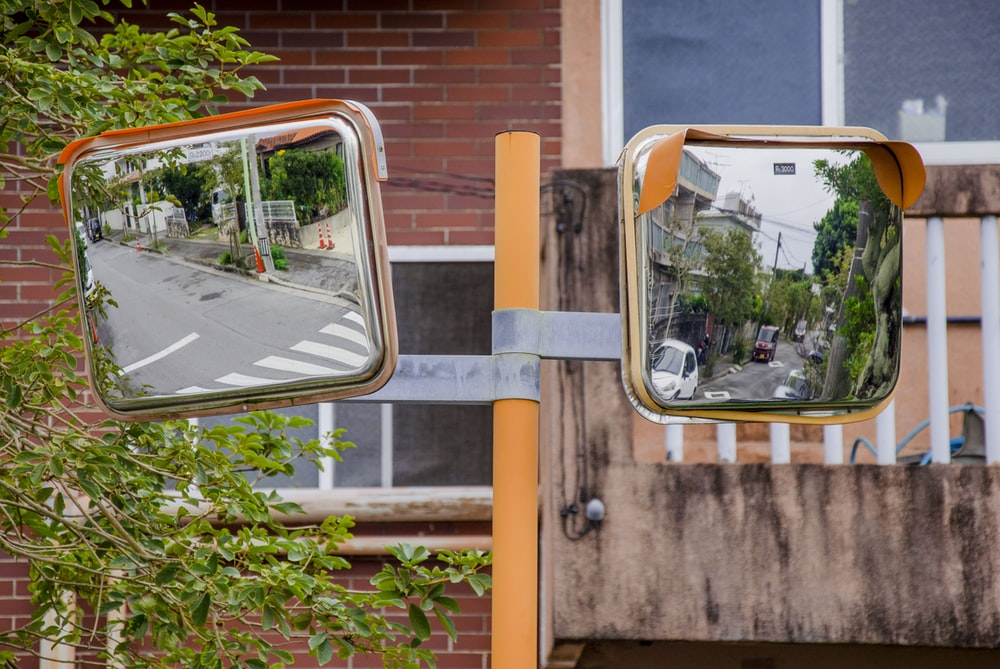 two square mirrors beside green plants