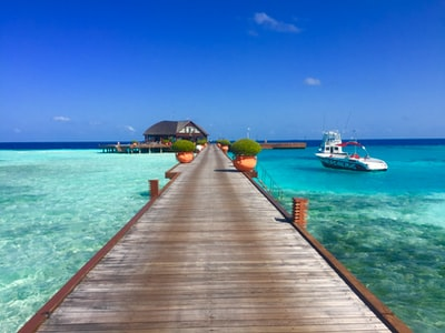 brown wooden dock beside white motor boat maldives zoom background