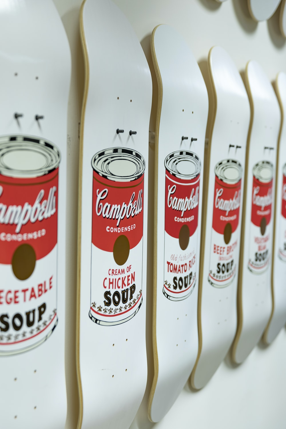 white-and-red Campbells soup can graphic skateboard deck lot