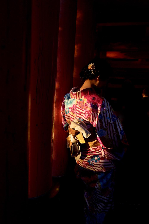 woman wearing kimuno standing