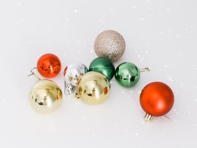 eight assorted-color christmas bauble lot christmas eve zoom background