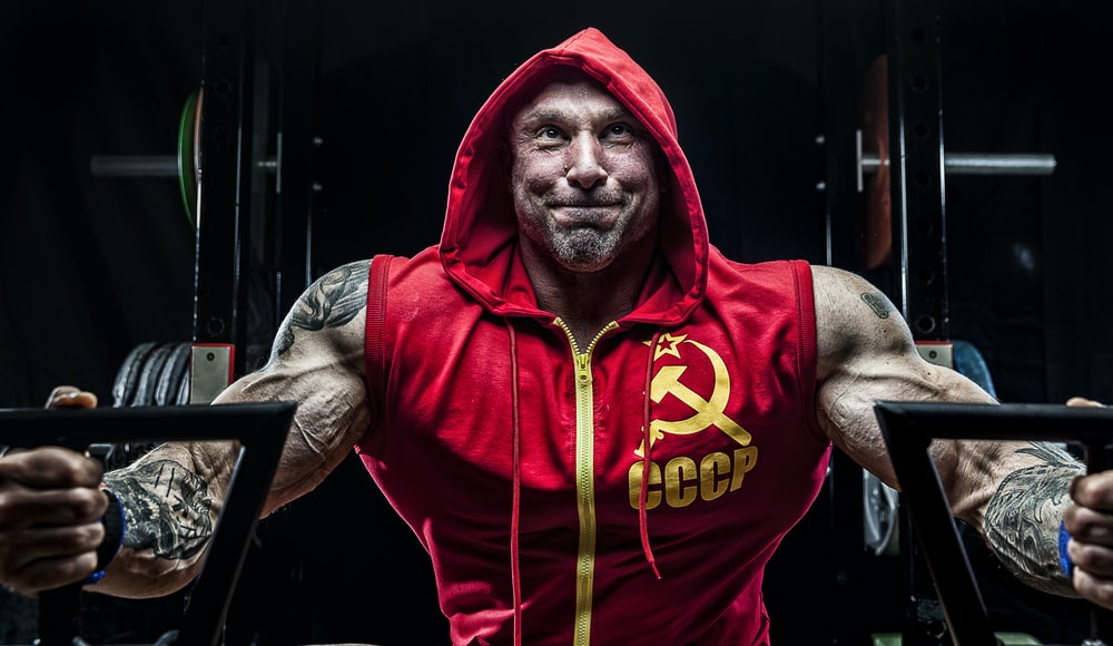 man in red and yellow CCCP hoodie