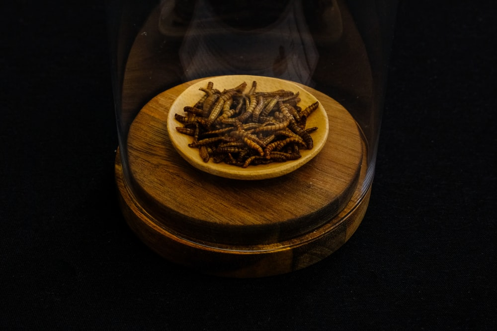 round brown wooden dome container