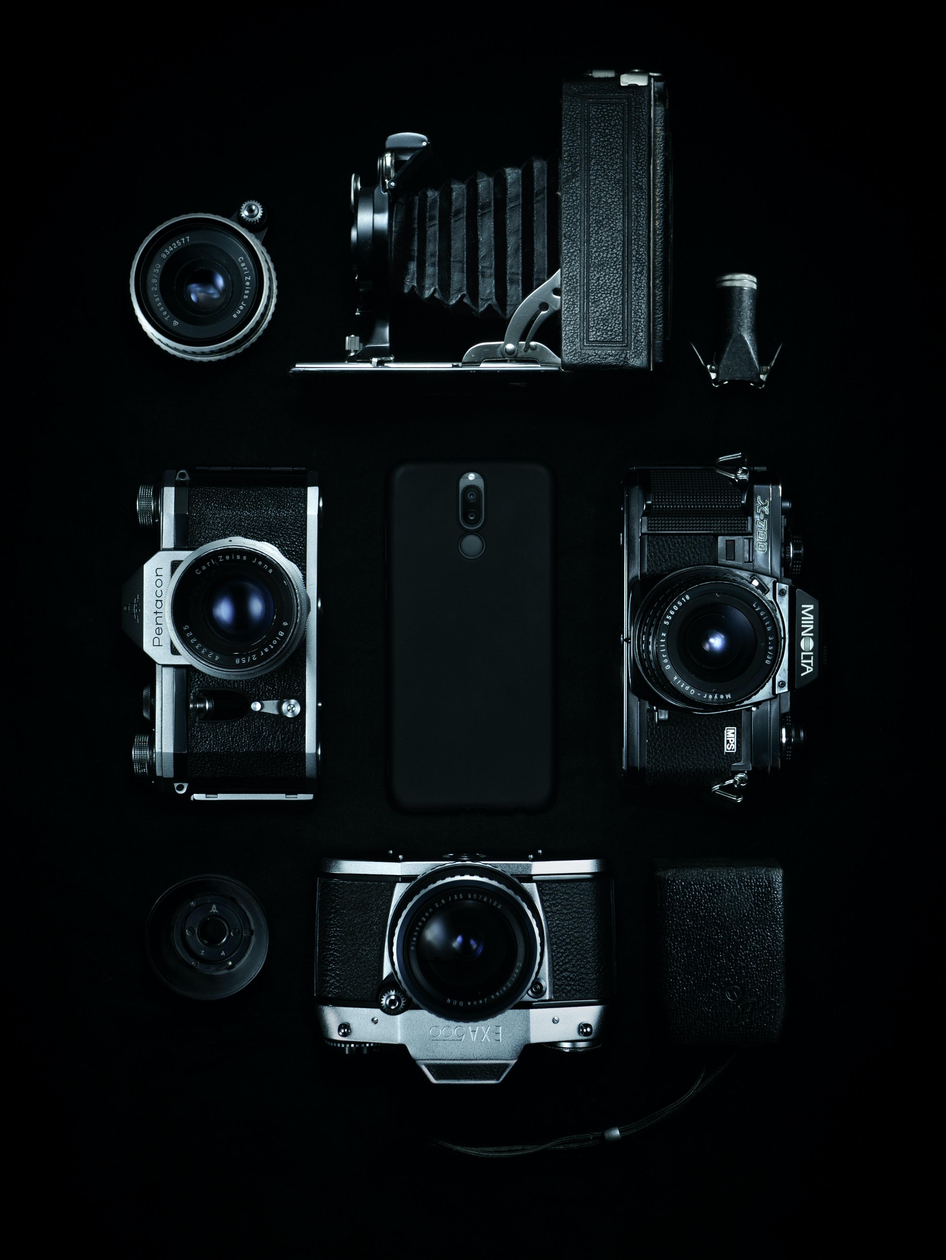black and gray DSLR camera set