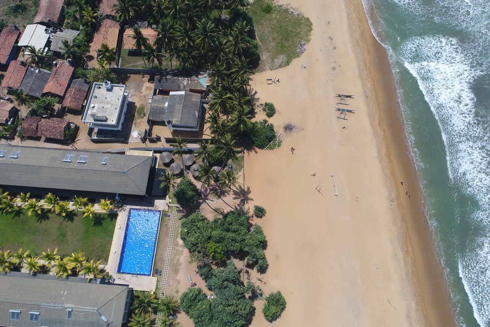 aerial-view of beach and resort