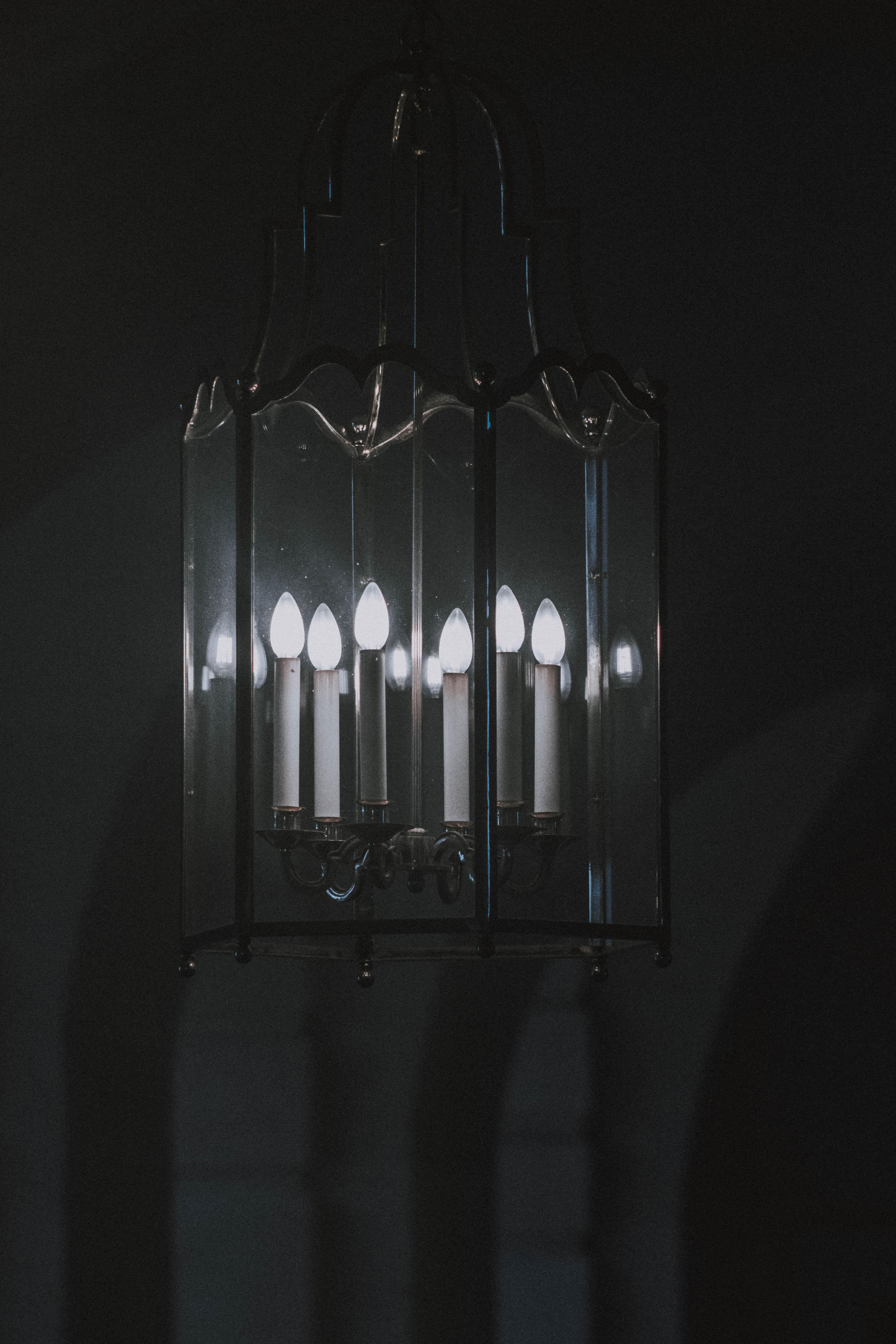 gray metal framed chandelier