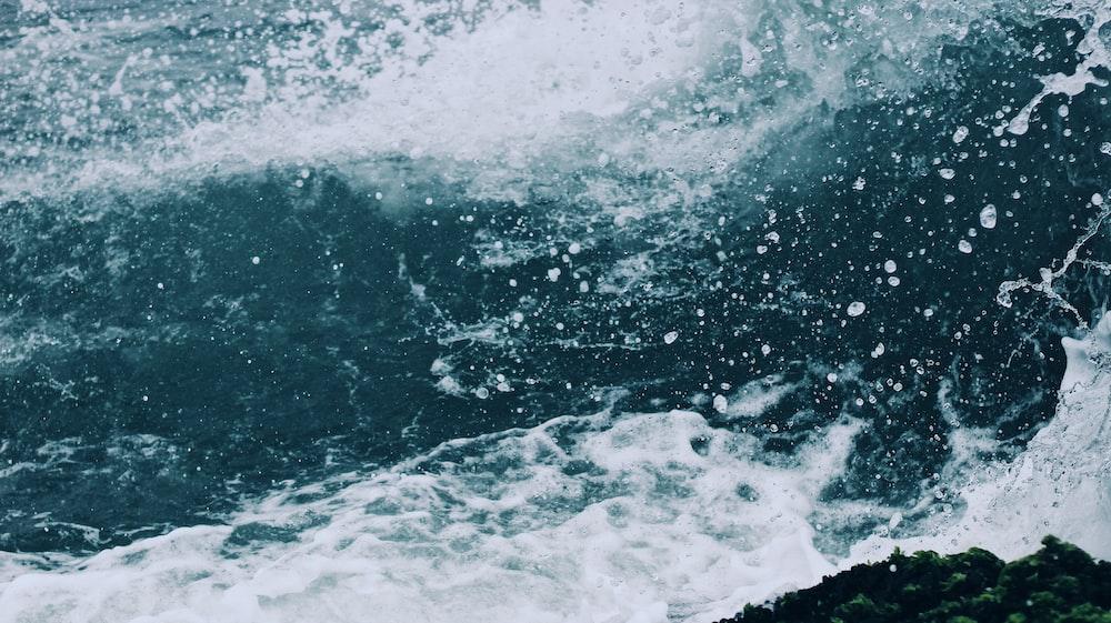 sea foam on crashing sea waves