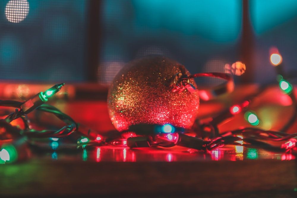 string lights beside Christmas bauble