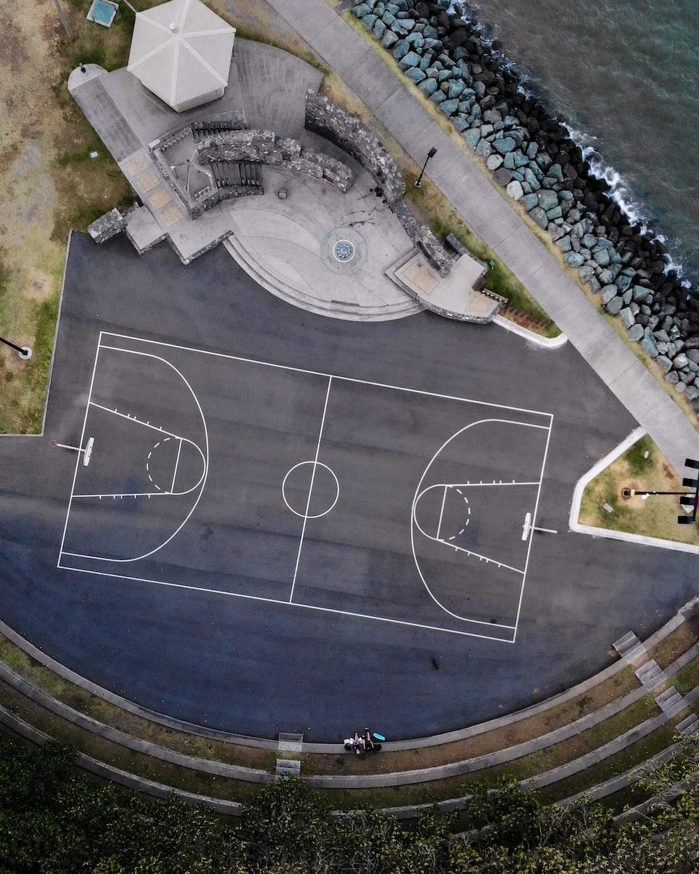 gray basketball court