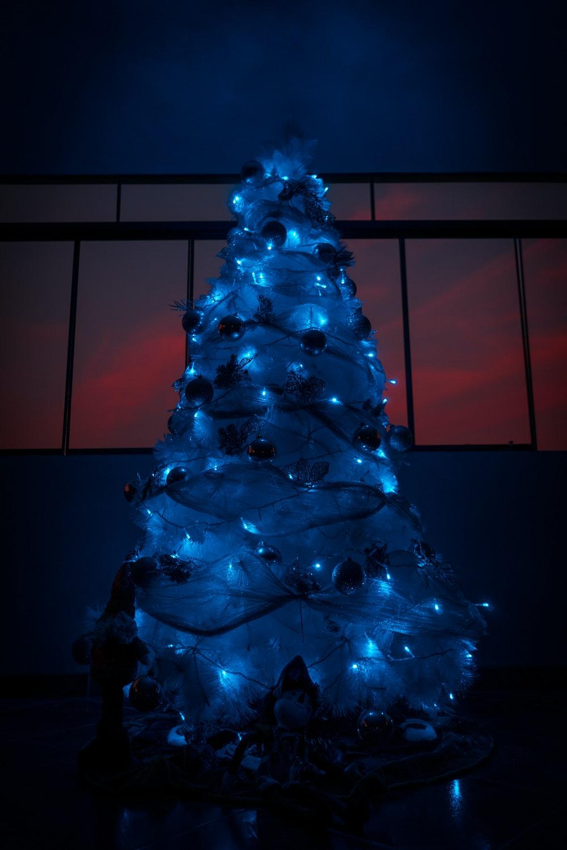 christmas tree in dim light