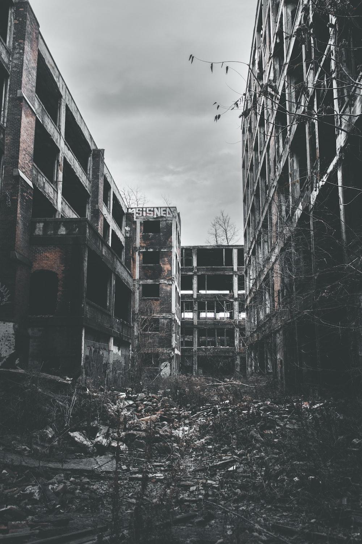 grayscale photo of abandon tenement