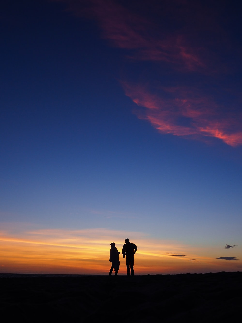 silhouette photography of two persons standing