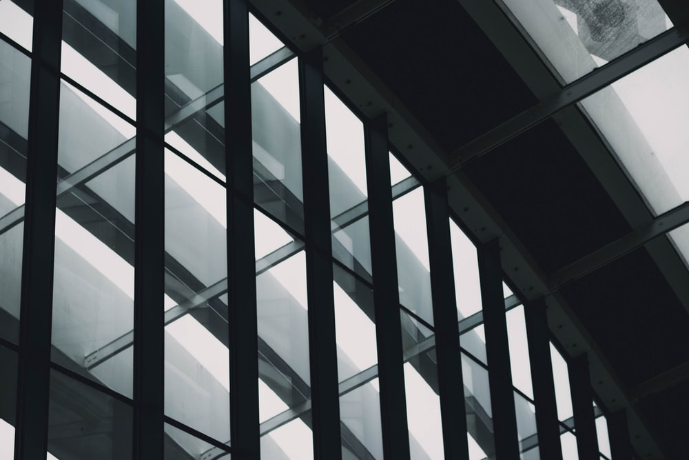 close-up photography of curtain wall building