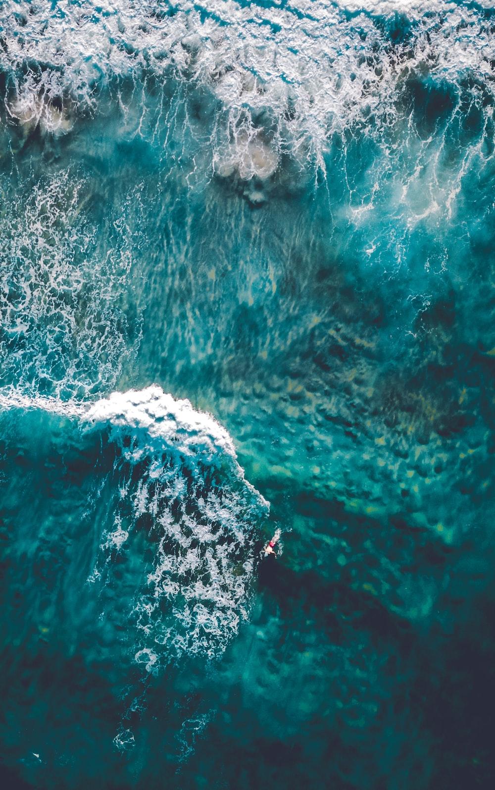 wavy ocean in aerial photography