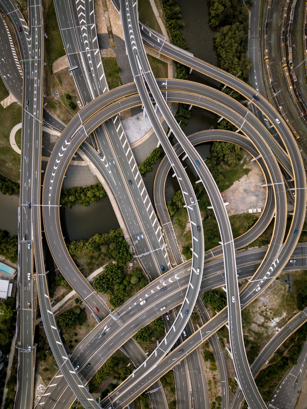 concrete road in aerial photography
