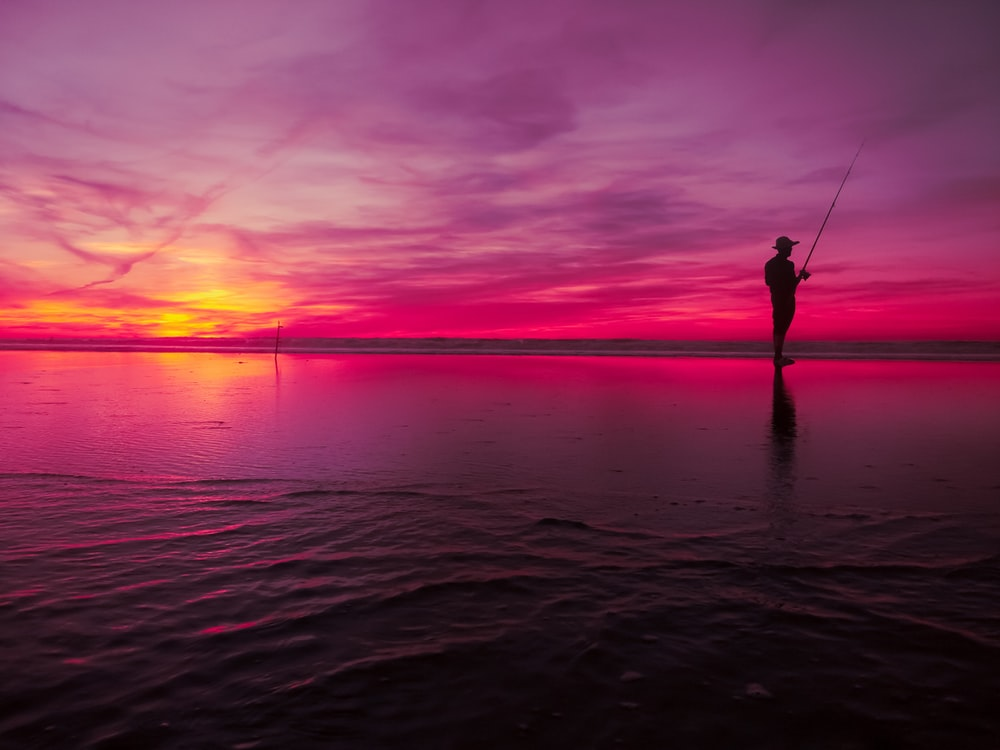 silhouette photo of person doing fishing at golden hour