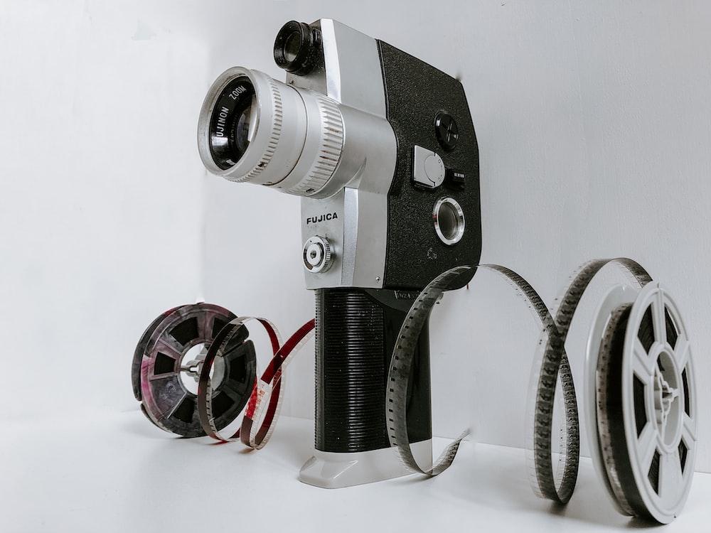 vintage gray and black camera