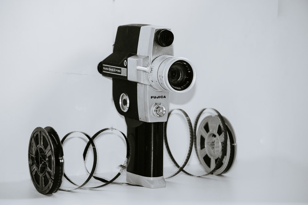 gray and black handheld projector