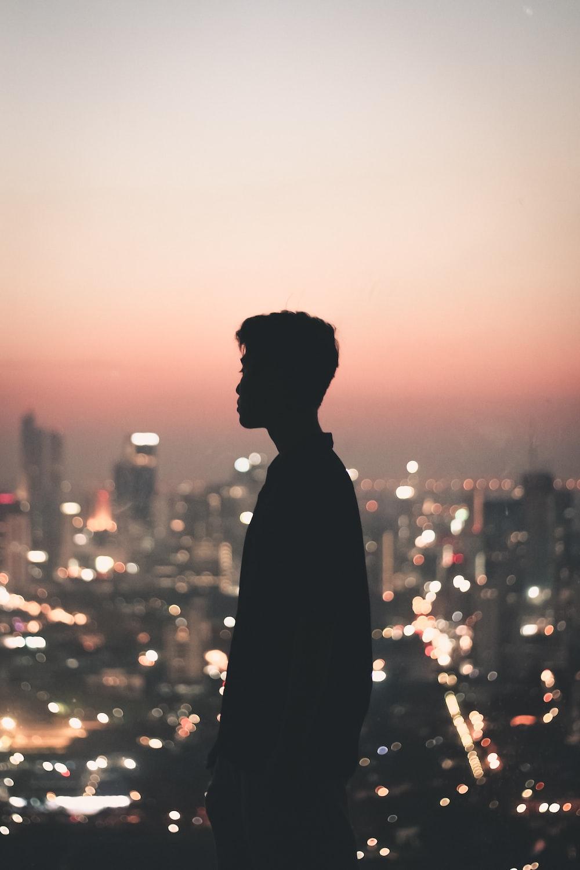 silhouette photo of man
