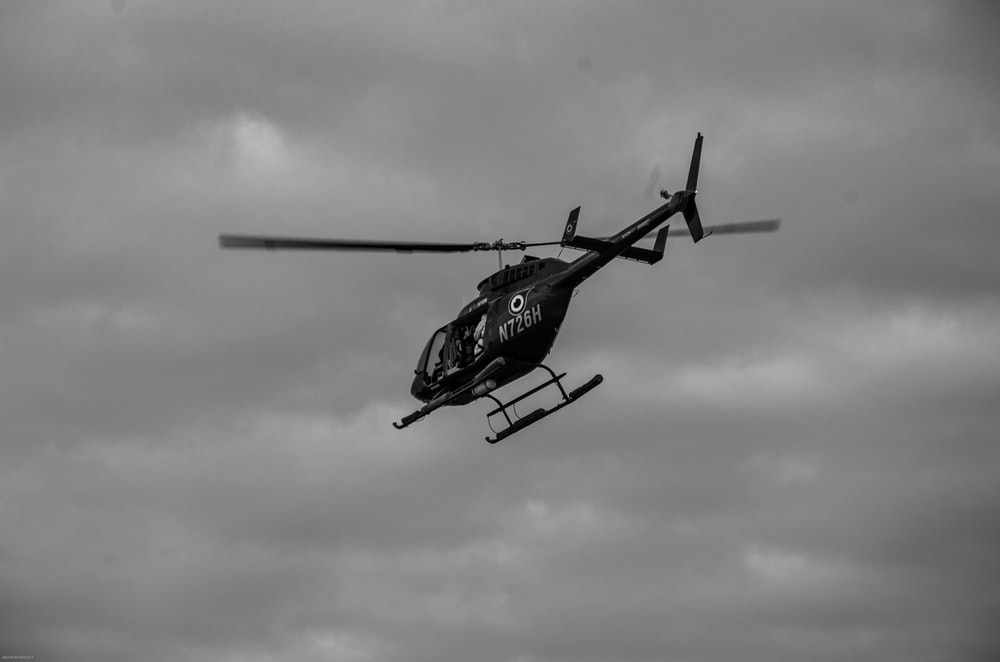 black helicopter in midair