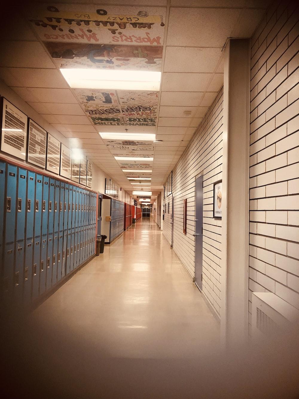 blue lockers in school