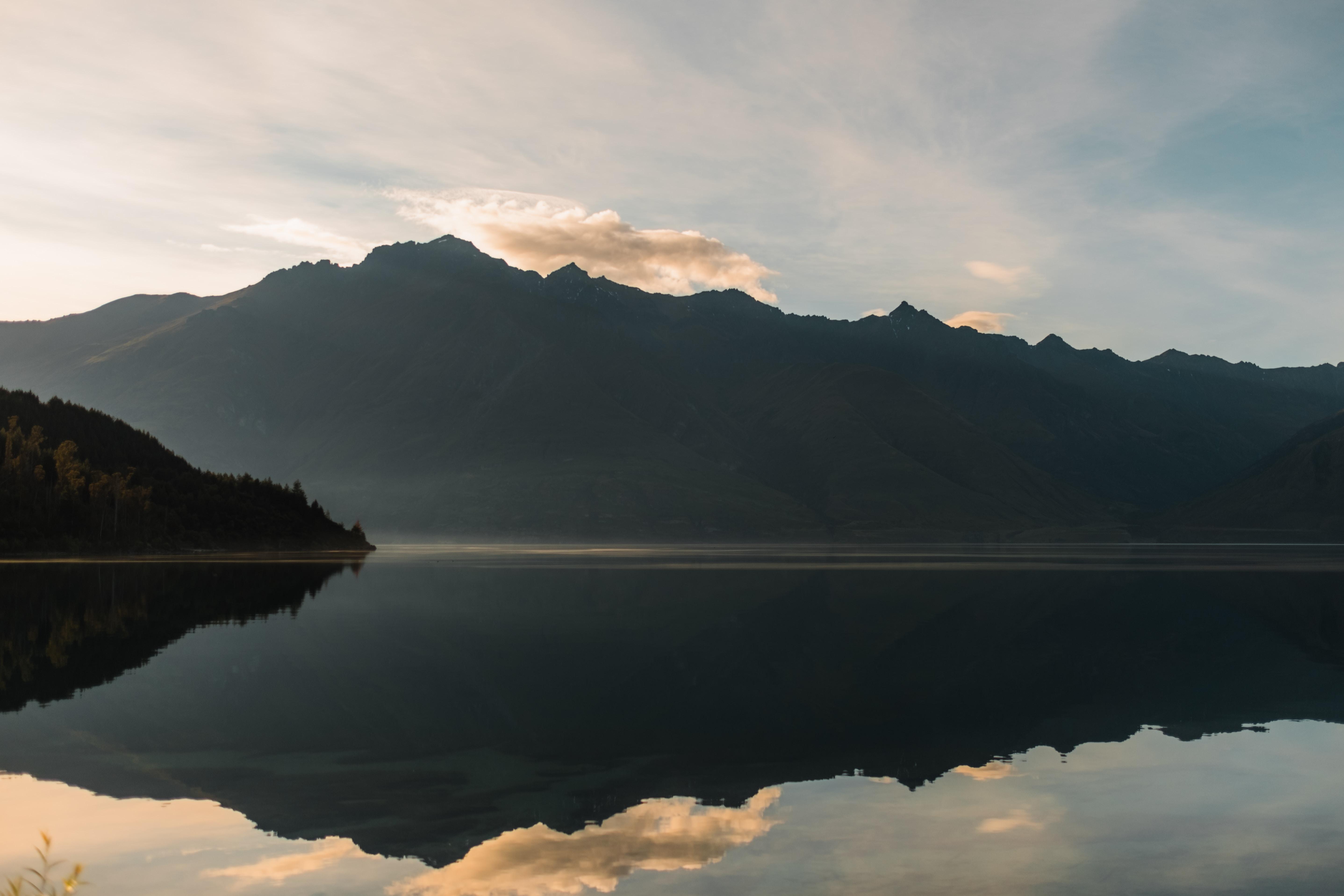 mountain across body of water