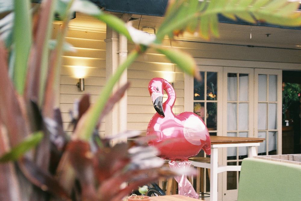 red flamingo decor in front of house