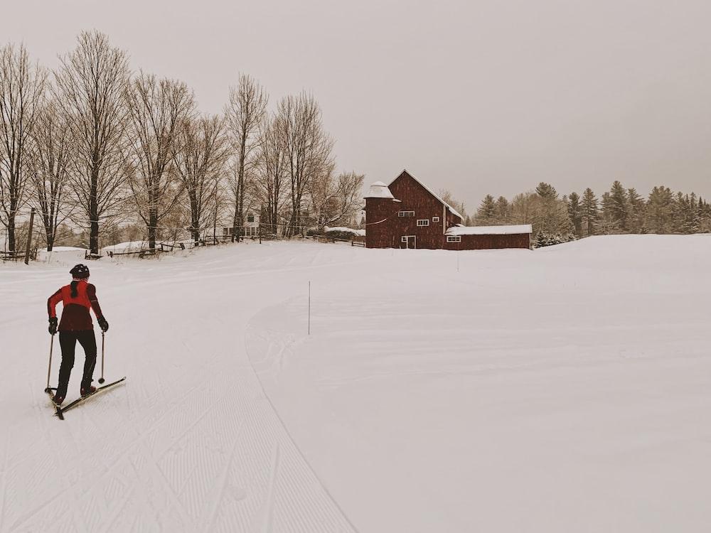 man riding on ski blades