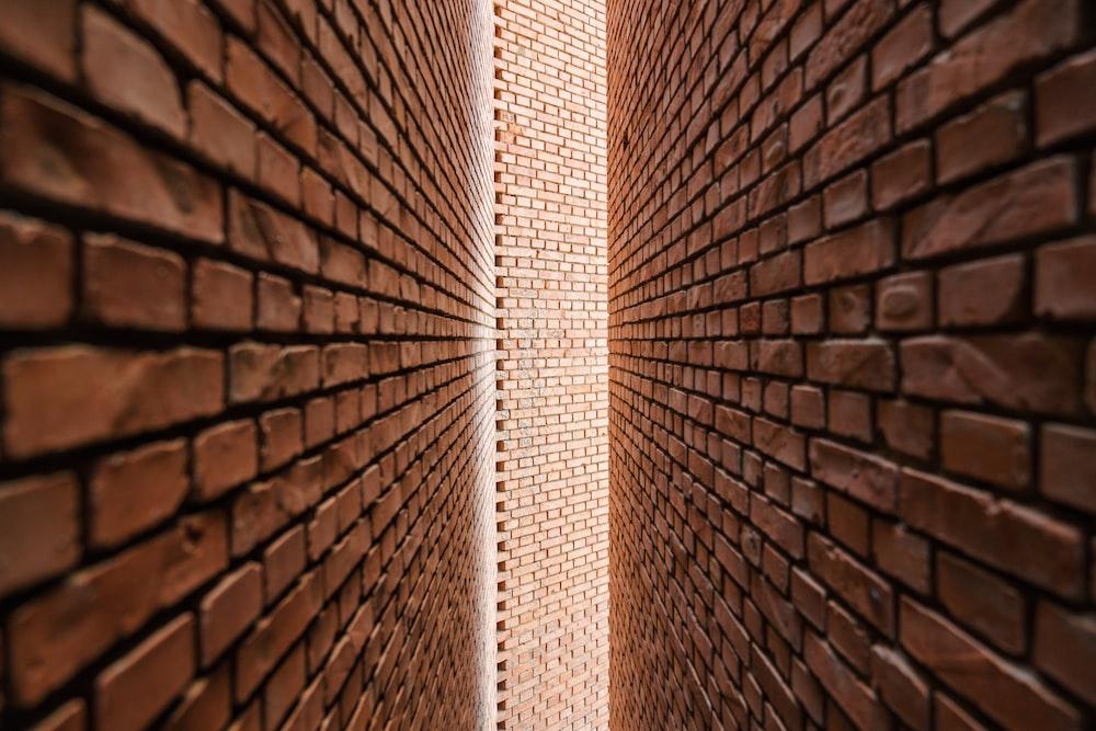 narrow brown bricks