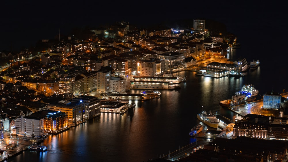 bird's-eye view photography of city at night