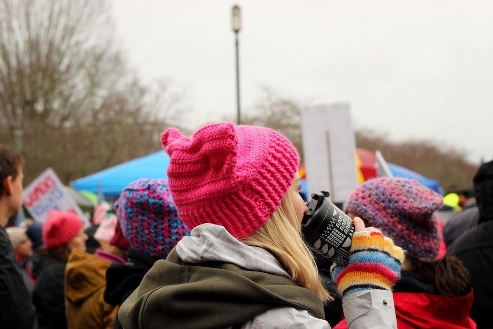 woman wearing knit cap