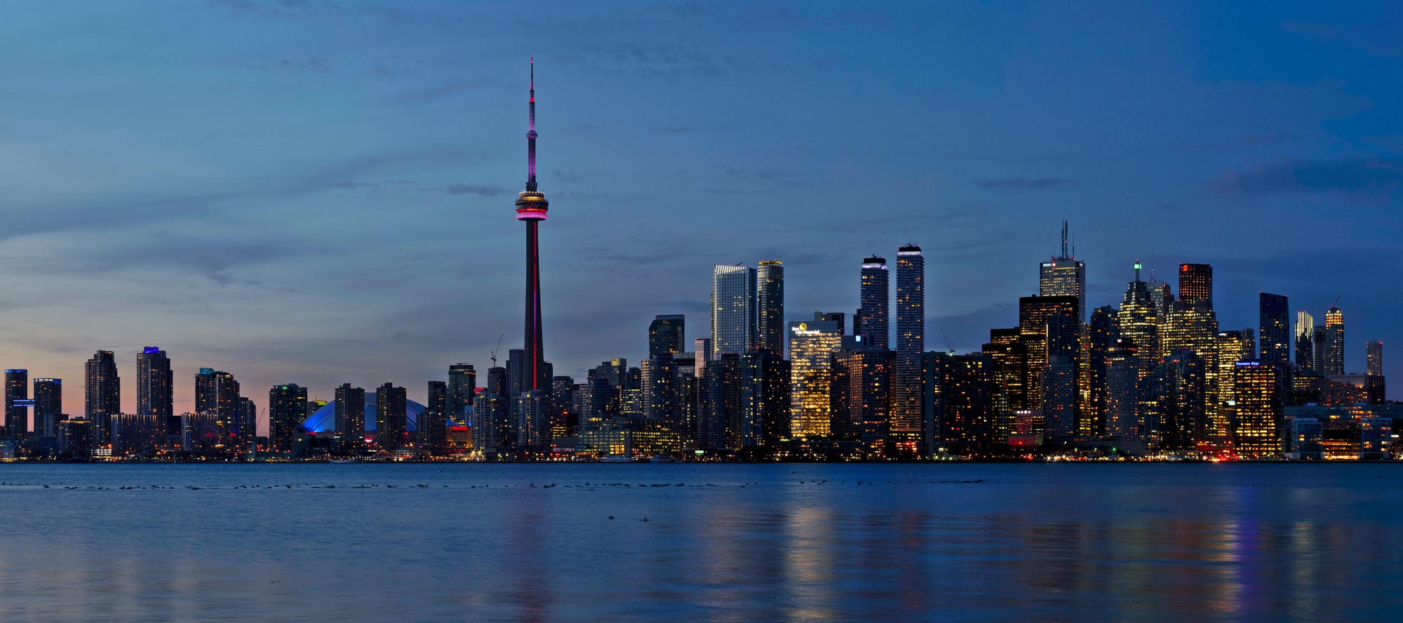 High-res panorama of the Toronto skyline taken from the Toronto Islands.