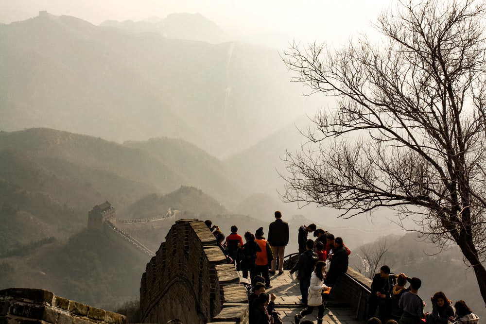 people at the Great Wall of China during day