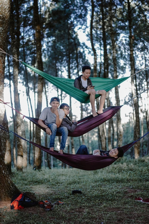men on hammocks