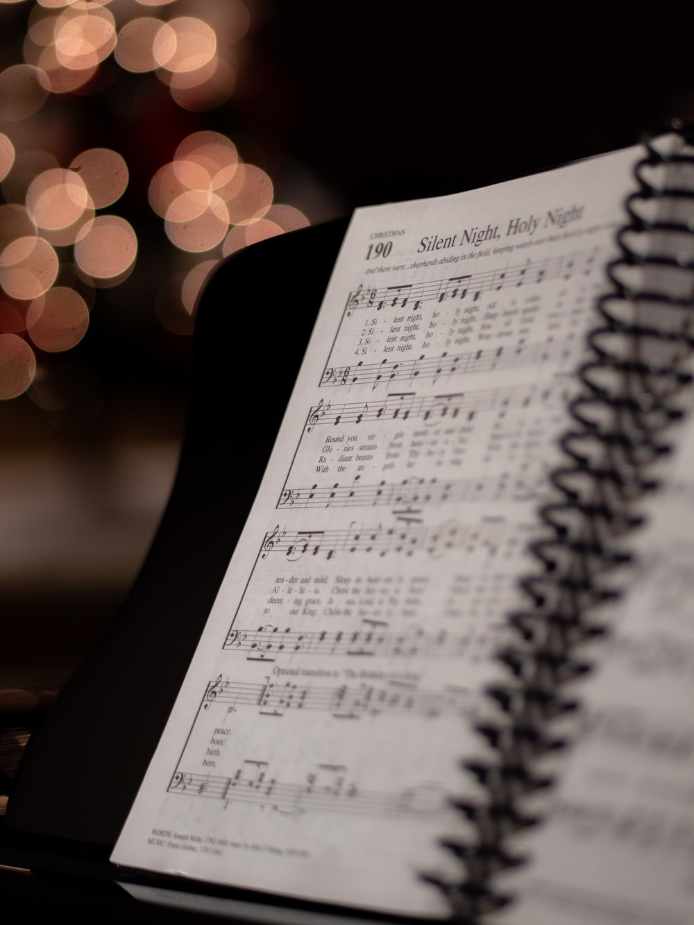 opened musical book at Silent Night, Holy Night page