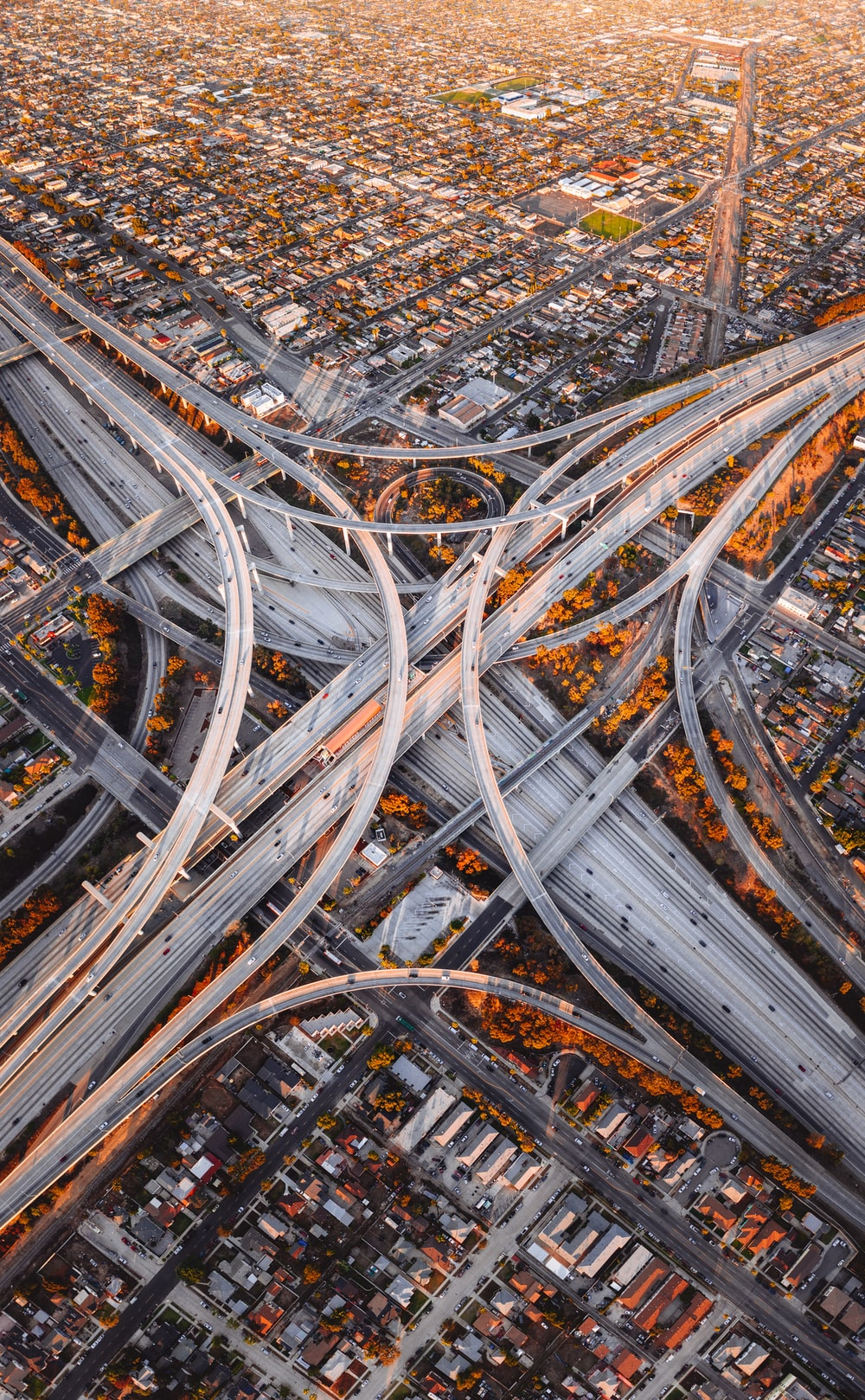 aerial photography of city road