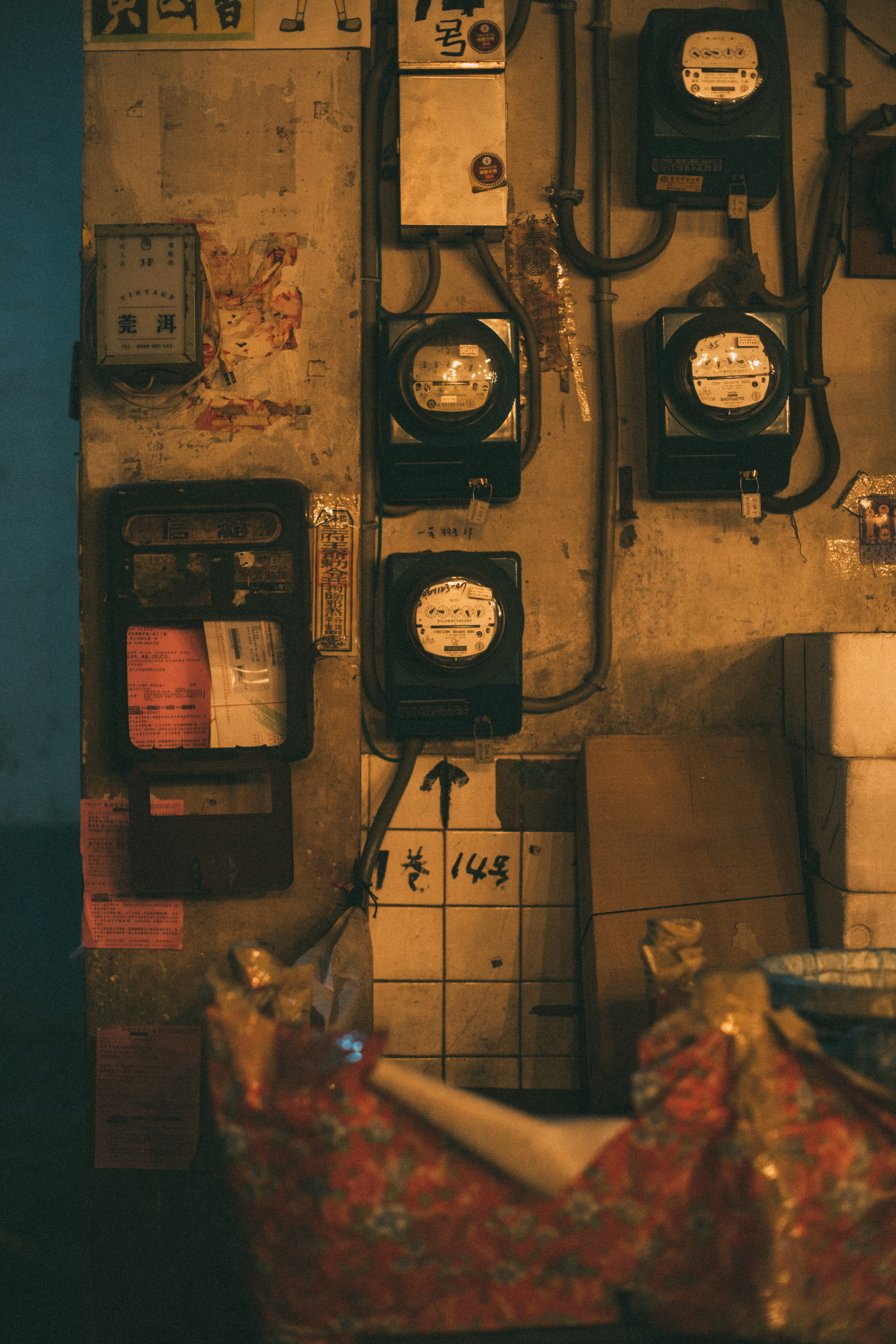 assorted electric meters on wall