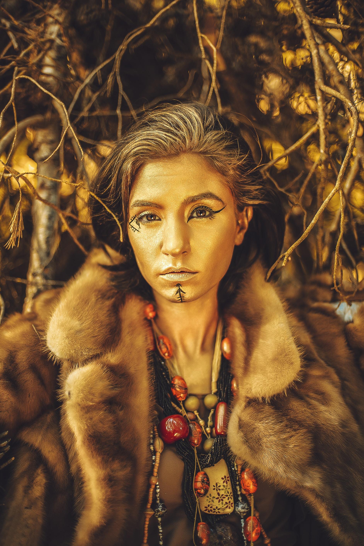 women's black and brown fur coat