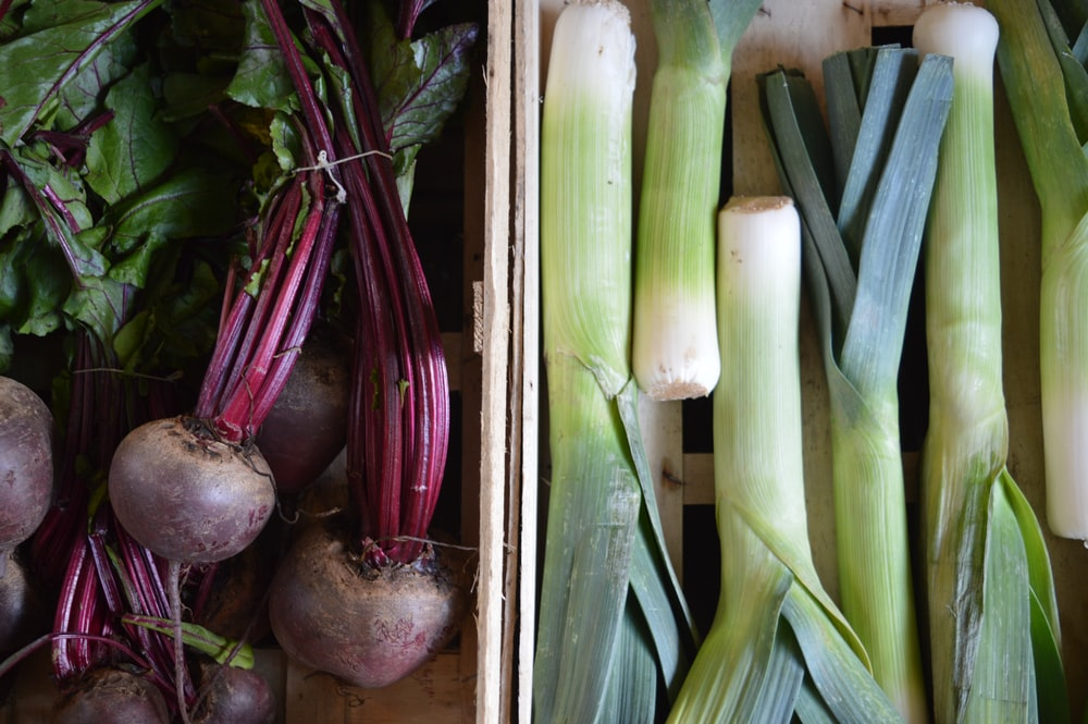 root crop and scallion collage