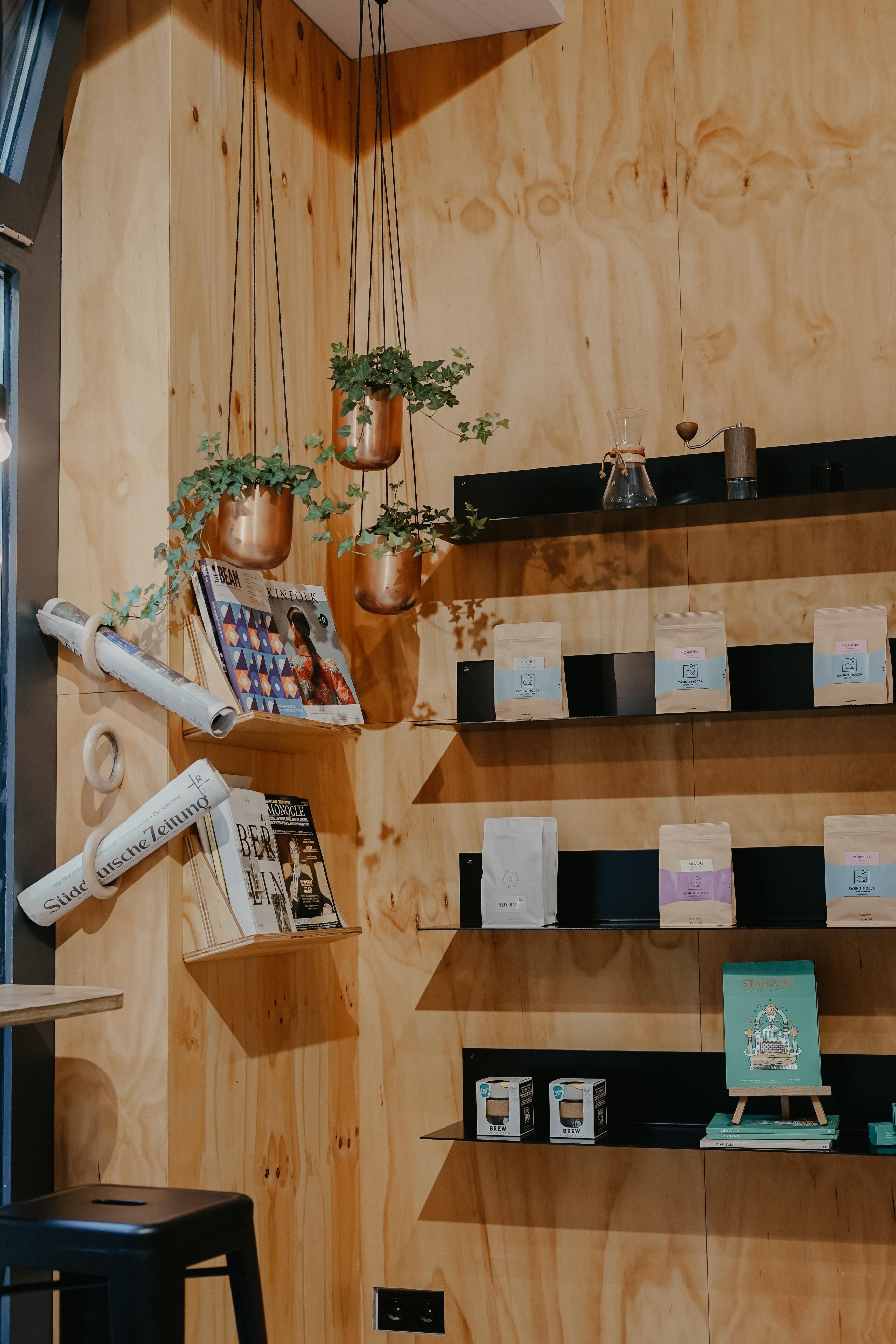 hanging plant pots near floating shelves