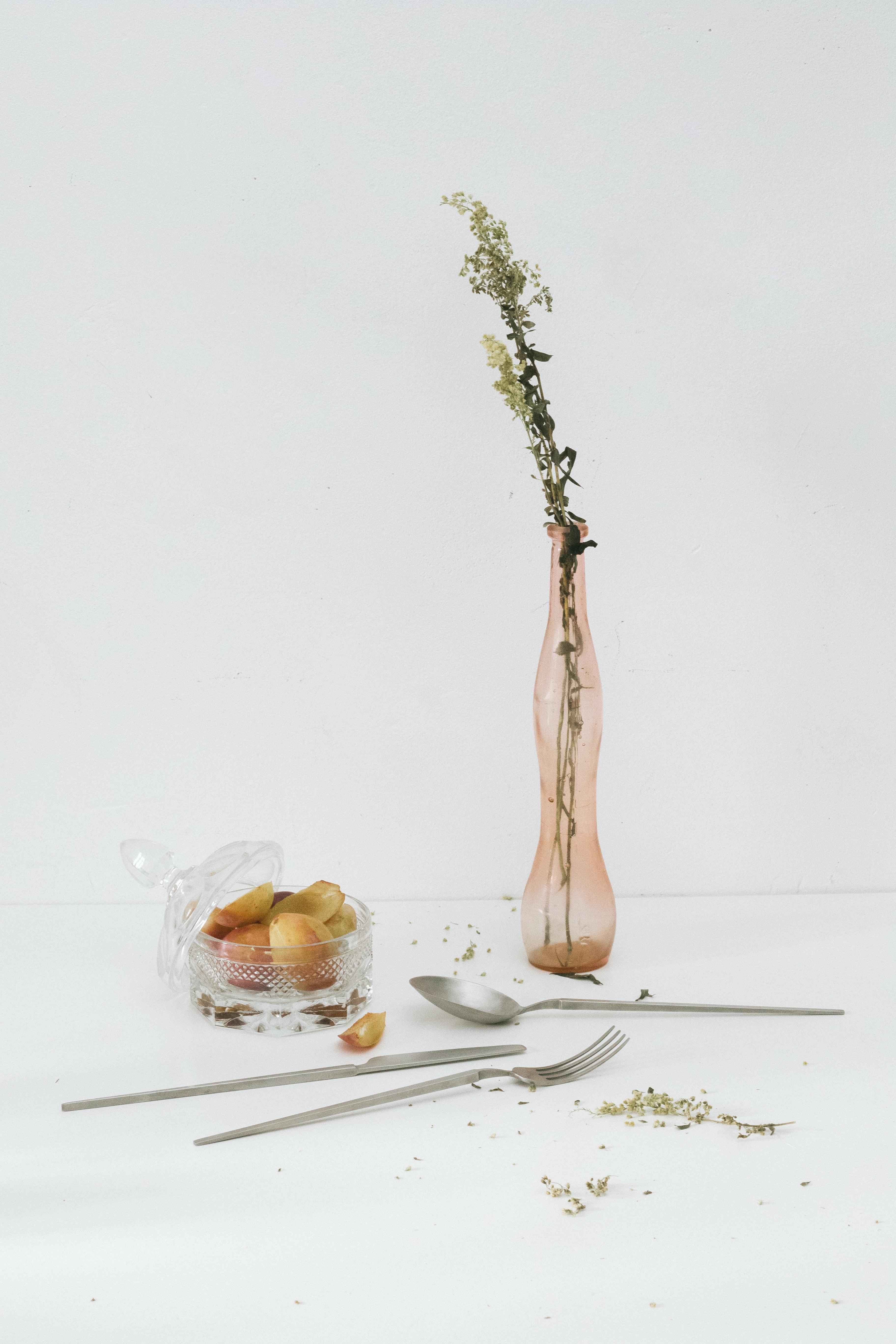 pink tinted flower vase