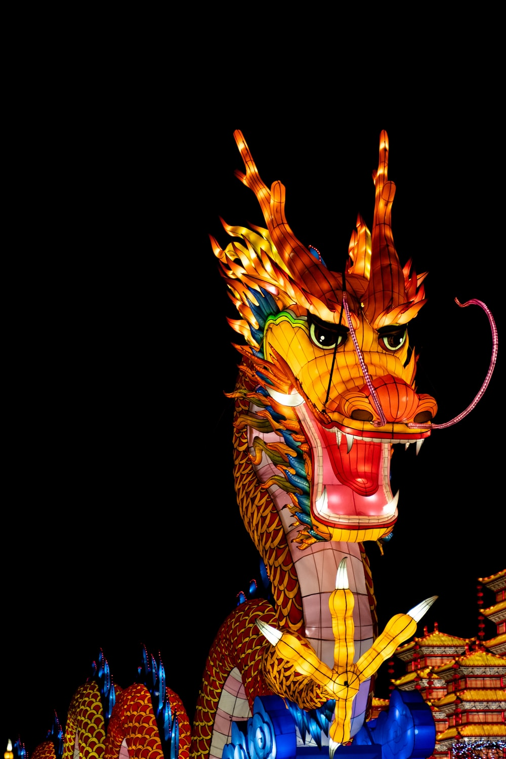 dragon statue with light