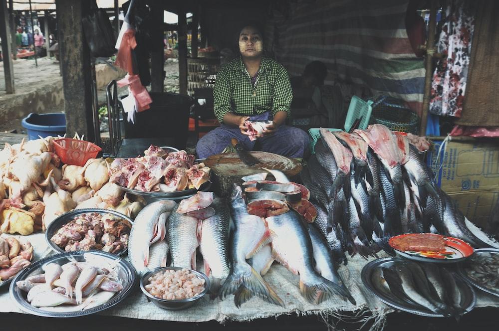 man sells fish