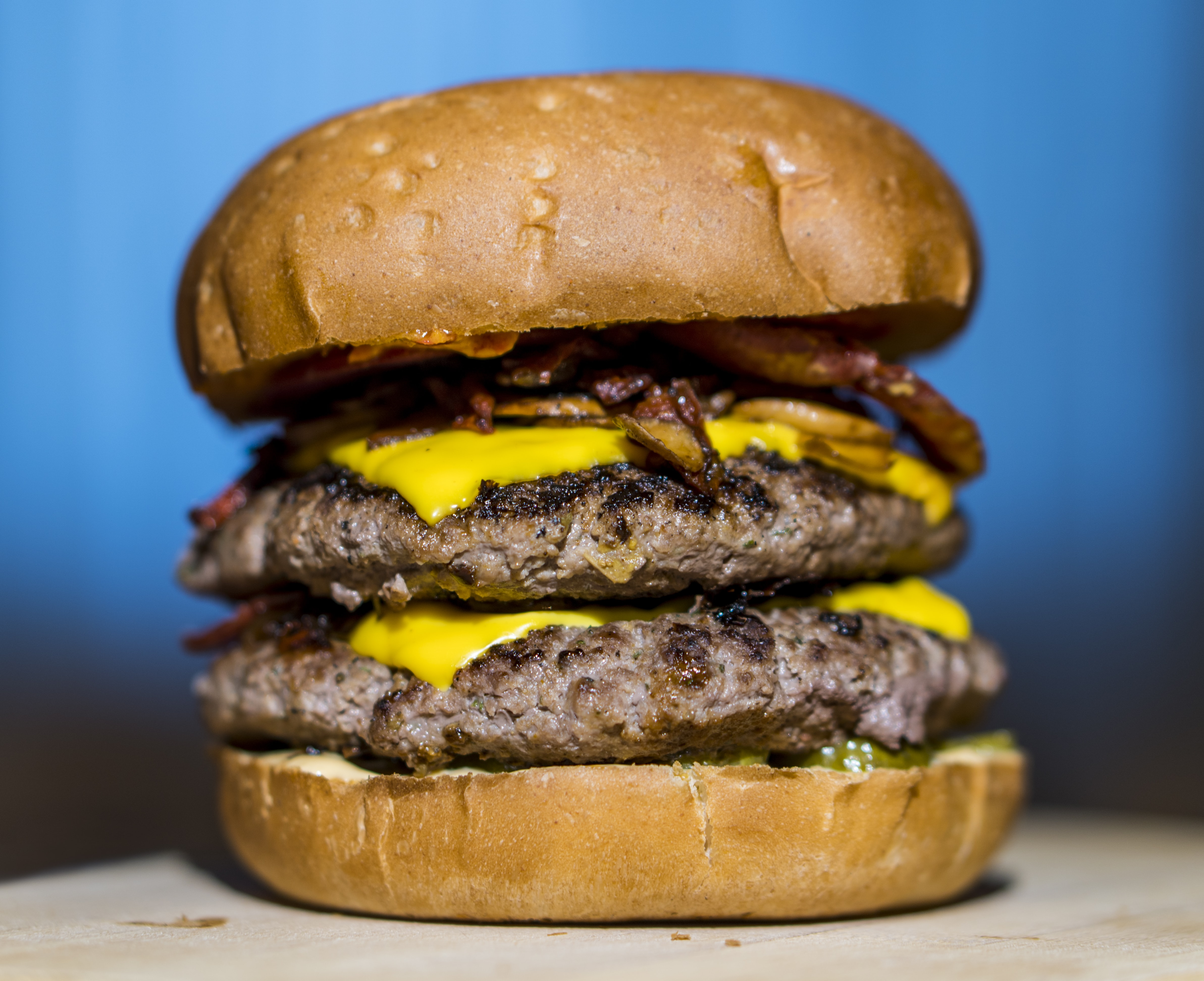 selective focus photography of double patty cheese burger