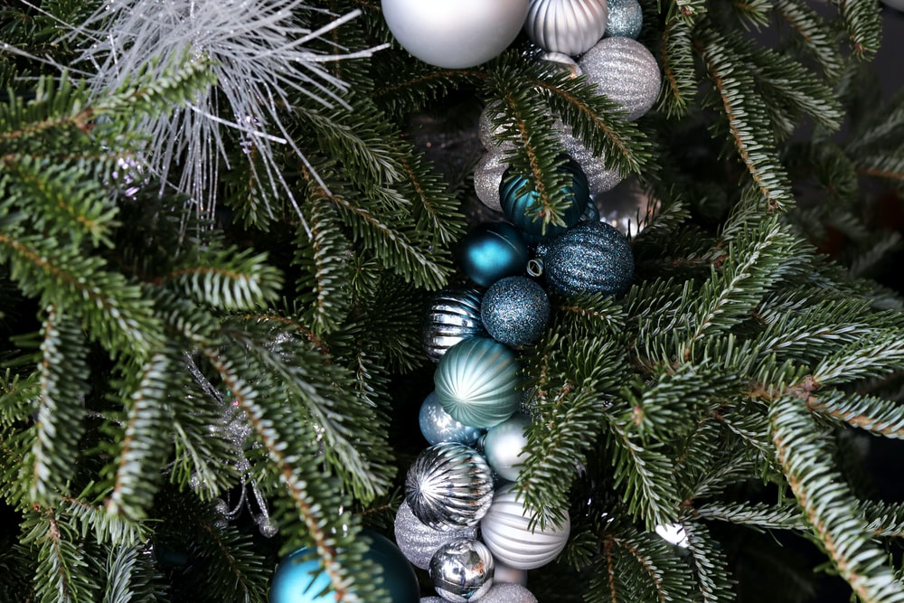 assorted-color baubles on green Christmas tree
