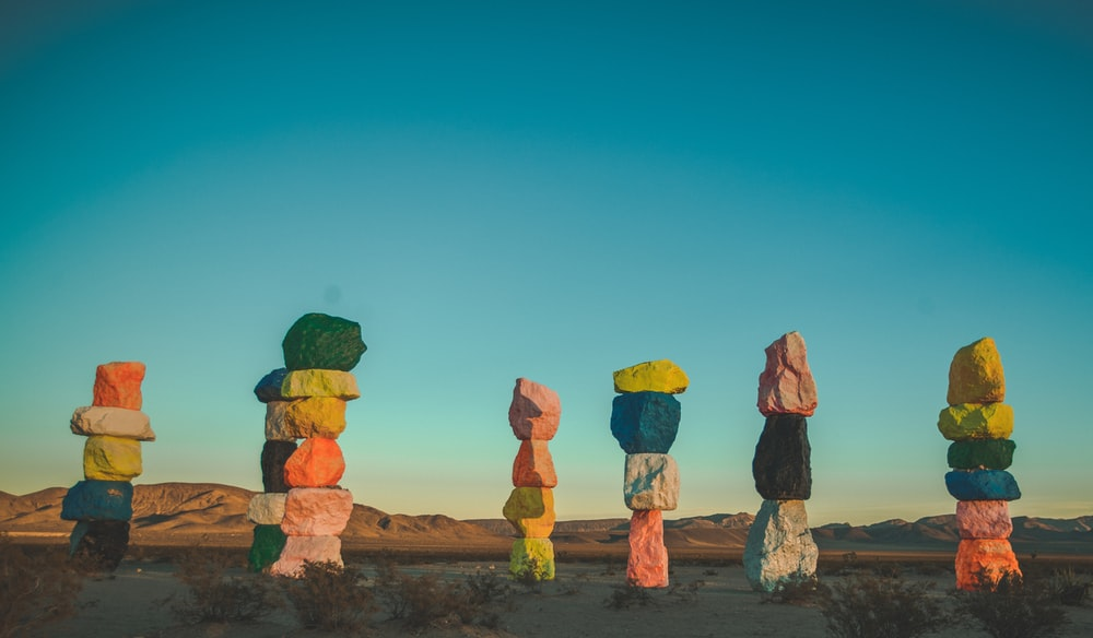 assorted-colored stacked stones photo