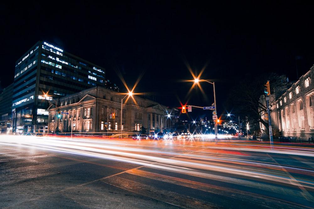 asphalt road night view