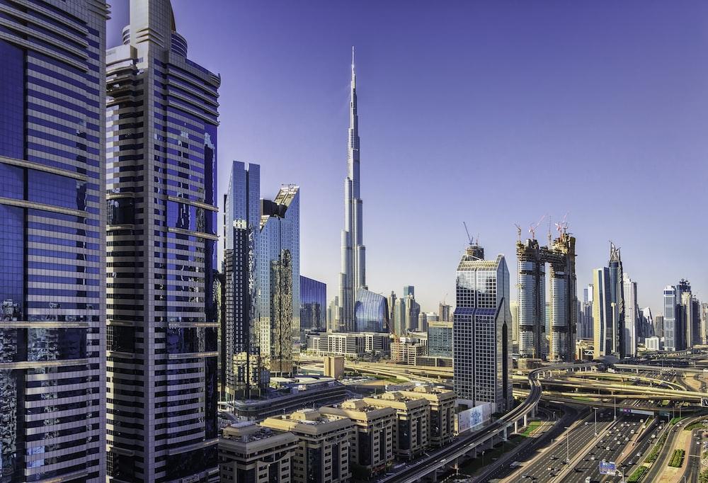 Burj Khalifa near city buildings