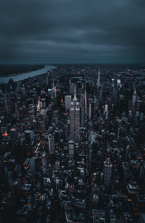 aerial photo of city skyline at night