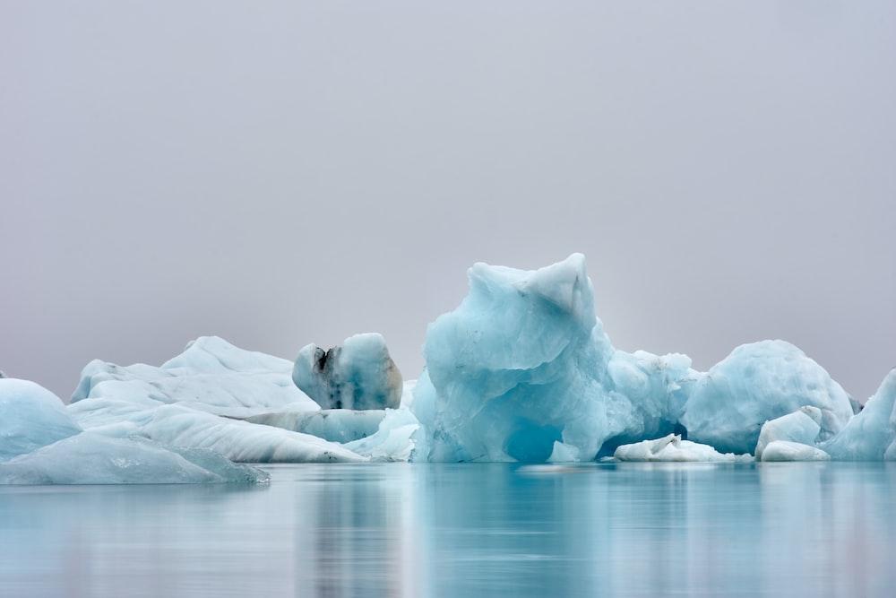 ice figure near body of water